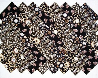 Black, Brown & Ivory 100% cotton Prewashed 4 inch Quilt Block Quilting Fabric Squares (#E/108A)