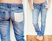Patchwork Jeans Blue Denim with Retro Polka Dot Pocket / / One of a Kind UpCycled Fashion