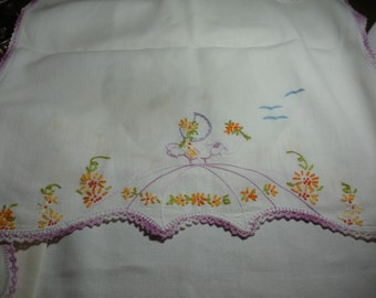 Gorgeous Vintage 4 pc Embroidered Dresser Set with Dainty Ladies, Blue Birds and Lavender Crochet Trim