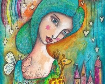 Girl with Giraffe - Art Print