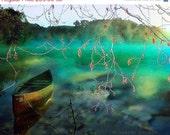 ON SALE The Lone Canoe, Digital Illustration, 8x 10 Fine Art Print, Giclee Print, Nature, Lake, Landscape, Water