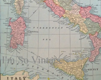 antique double sided map Italy and Greece 1899