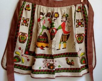 vintage linen apron - Pennsylvania Dutch - folk art - 1960s
