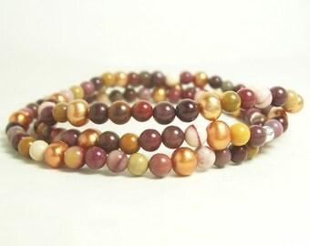Autumn is Golden, Mookaite Jasper & Copper Pearls Elastic Bracelet, 3 Separate Strands