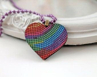 Rainbow disco heart  necklace kawaii  wood cute
