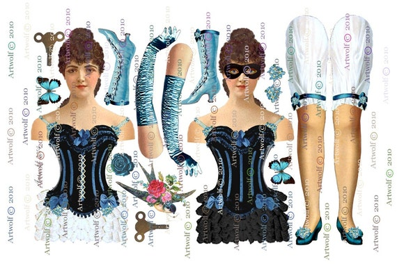 Instant 2 PAPER DOLLs Stage Theatre Showgirl french paper doll Download DIGITAL masks Papercraft Cardmaking