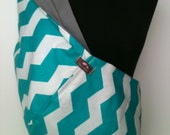 Baby Sling  Baby Carrier - Aqua Chevron with Gray  Lining