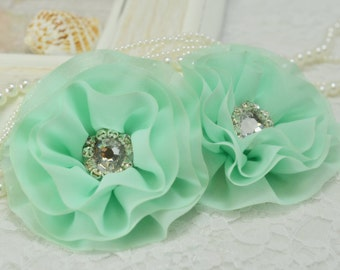 Set of 2pcs handmade chiffon flowers--apple green (FB1011)