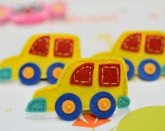 NEW! 6pcs handmade felt Cars--yellow (FT712)