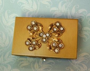 Vintage Rhinestone Butterfly Gold Tone Box Novelty 1950s Vanity Boudoir