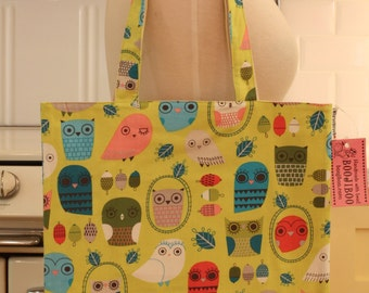 Book Bag Tote Purse - Whimsical Owls on Green