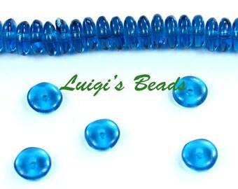 50 Capri Blue Czech Glass Rondell Spacer Beads 6mm
