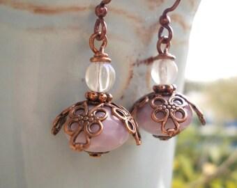 Flower earrings, lavender copper, rose bud dangle earrings, drops for women vintage chic retro style glass antique romantic renaissance rose