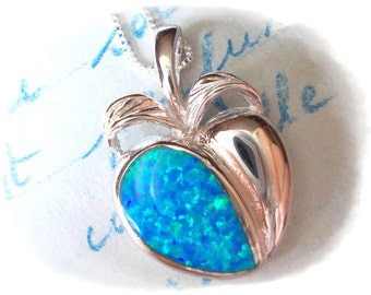 Pomegranate Necklace created blue opal charm necklace 925 sterling silver Persephone Nature Inspired Jewelry for women apple fruit pendant