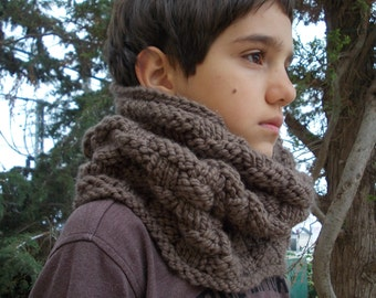 Warm Scarf Cowl Taupe Brown infinity circular scarf bulky knit country chunky yarn men women handknit gift bulky rustic simple hood snood
