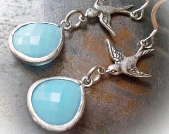 Swallow Flight long bird dangle earrings vintage finish antique silver Victorian steampunk pacific light blue larimar turquoise sea ocean