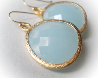 Large blue earrings in gold air blue opal glass elegant drop faceted dangle earrings for women pale light sky blue chalcedony blue jade blue