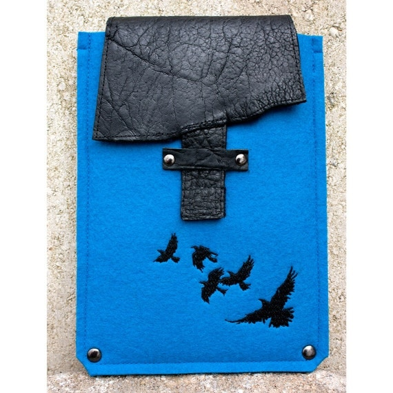 E Reader/iPad Mini Case Wool Felt and Leather with Embroidery