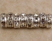 Silver Rhinestone Rondelle Spacer, 8 mm, Crystal 12 Pc. C337