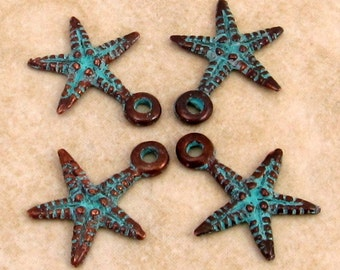 Mykonos Casting Starfish Charm, Green Patina, 4 Pieces M304
