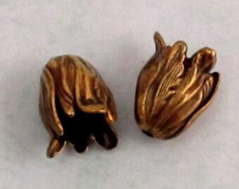 Small Flower Bead Cap, Brass Ox, 2 Pc. AB103