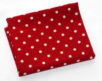 Fat Quarter -  1/4 yard Linen Mochi Polka Dot Red