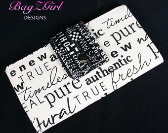 Handmade Long Wallet BiFold Clutch-Authentic-canvas-Black -letters-black and White