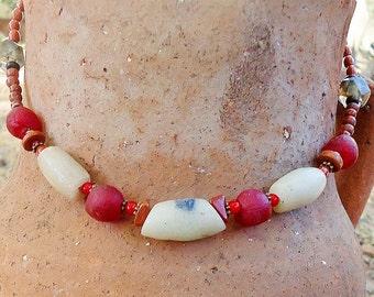SALE, African Powder Glass & Red Jasper Necklace