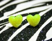 Yellow Heart Earrings, Neon Resin Studs, Glitter Kawaii, UV Reactive Rave Jewelry