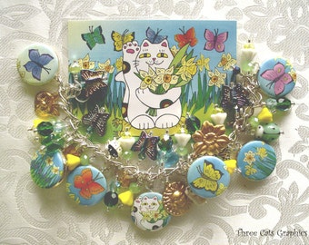 Daffodil Neko Calico Cat with Butterflies Charm Bracelet and Accompanying ACEO Print