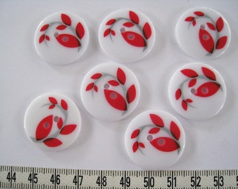 10 pcs of Red Leaf on White  - 25mm Graphic Printed