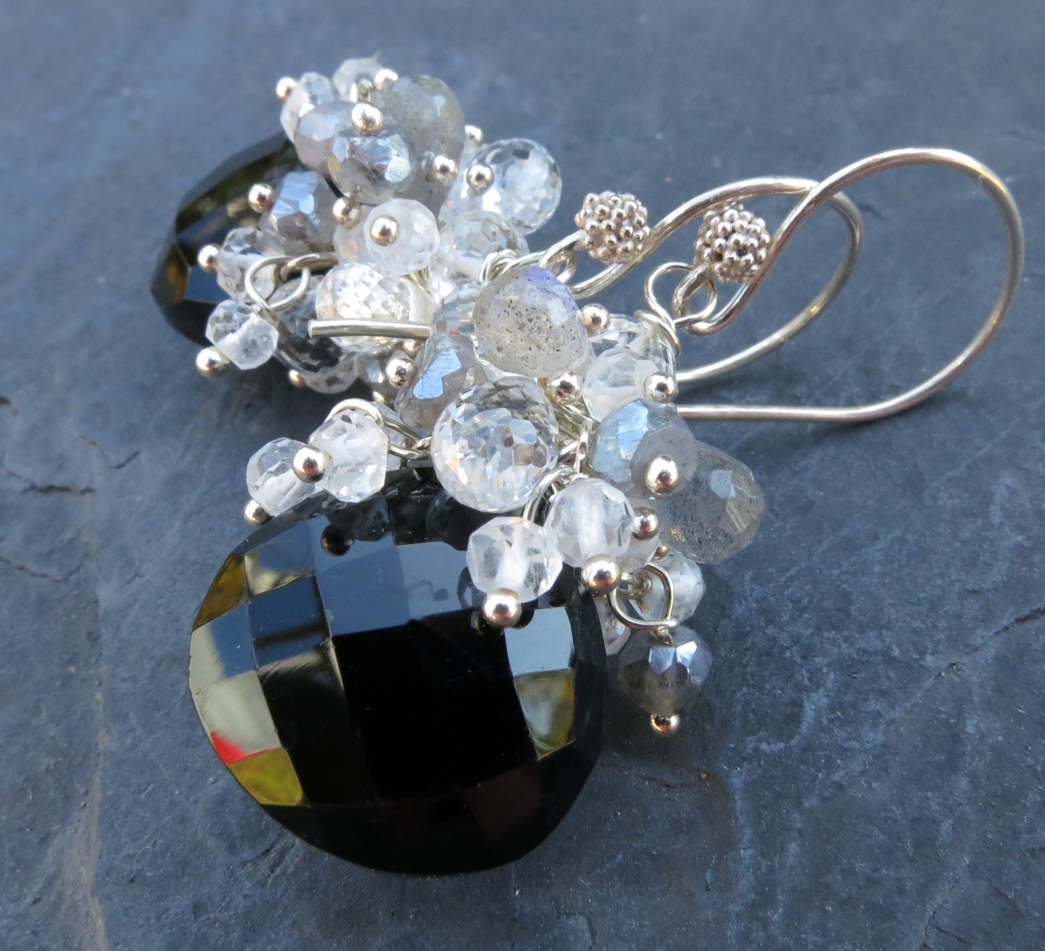 Black spinel moonstone white topaz earrings with labradorite