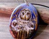 Amazing Owl mom and babies - fused glass pendant