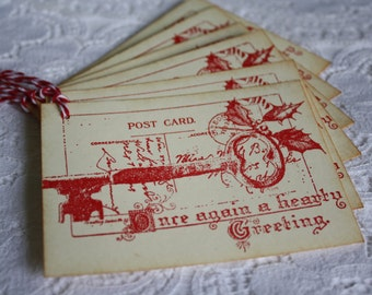 Christmas Greeting Postcard Gift Tags - Stamped Key and Mistletoe