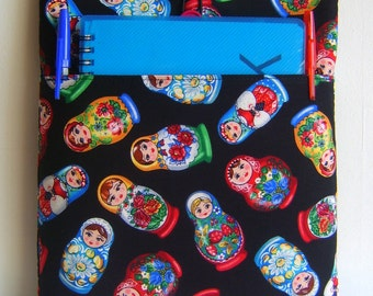 Russian doll fabric Ipad cover cozy sleeve with front pocket