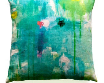 cotton/linen cushion with feather insert . 'balance'