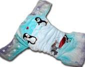 Pretty Penguins - M/L Organic Bamboo Velour AI2 Cloth Diaper
