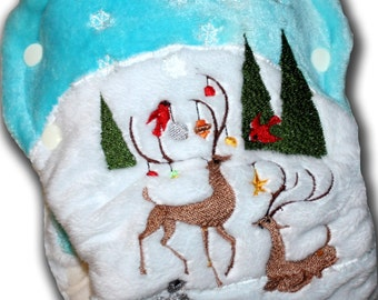 Woodland Christmas - M/L Organic Bamboo Velour AI2 Cloth Diaper