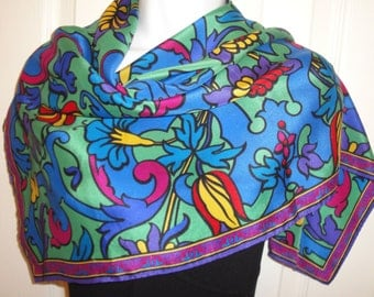 Vintage Scarf, Liz Claiborne Silk 30 inch Square, 1980s Floral intricate paisley in bright colors of green, blue, purple, pink  and yellow