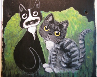 Cat and kittens and other pet portraits on slate or canvas