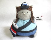 Mail Woman Cat Pincushion - Postal Worker - Mail cute felt kitty cat collectable Gift for postal worker Gift for animal lover - Peta - MTO