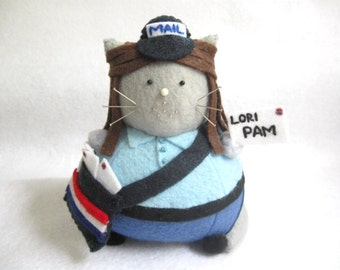 Mail Woman Cat Pincushion - Postal Worker - Mail cute felt kitty cat collectable Gift for postal worker Gift for animal lover - MTO