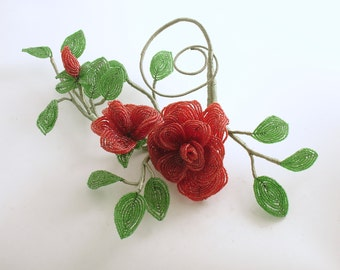 Vintage French Beaded Roses Leaves Wedding Bouquet Centerpiece Beaded Flowers
