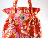 Project Bag, Knitting Accessories, Lined Crochet Tote, Purse for Your Projects, Crochet Accessories, Orange pnk yellow bold floral