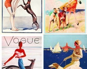 Vintage Beach Greyhound Dogs Art Notecards Set of 4 w/envelopes