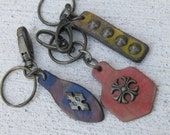 Retro Distressed Leather Keychains