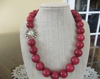Raspberry Beaded Necklace with Vintage Aurora Borelis Earring