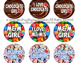 4x6 - I LOVE CANDY - Instant Download -Candy Girl- One Inch Bottlecap Collage Digital Image Sheet - No.948