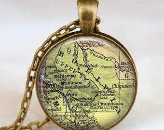 Bolivia map  necklace,  Bolivia South  America map pendant ,  Bolivia glass dome pendant,map jewelry