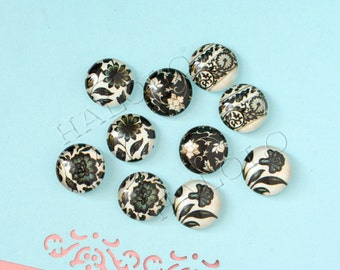 10pcs handmade assorted deep color flower round clear glass dome cabochons / Wooden earring stud12mm (12-0835)